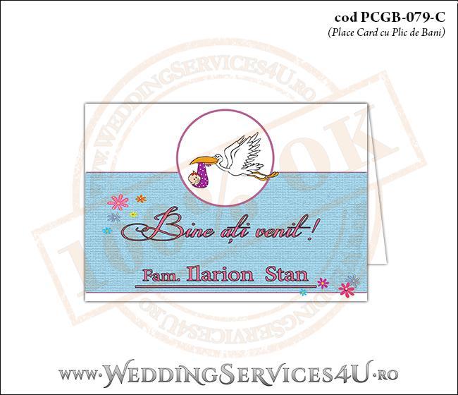 PCGB-079-C Place Card cu Plic de Bani sigilabil pentru Botez cu Barza (baby delivery)