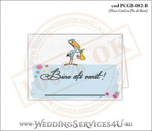 PCGB-082-B Place Card cu Plic de Bani sigilabil pentru Botez cu o barza 'livrand' un bebelus la usa casei (baby delivery)