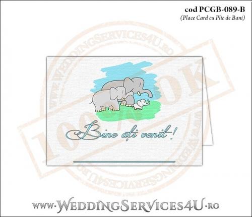 PCGB-089-B Place Card cu Plic de Bani sigilabil pentru Botez cu o familie de elefanti (un bebe elefantel impreuna cu parintii lui)