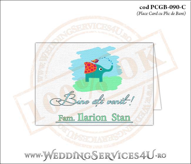 PCGB-090-C Place Card cu Plic de Bani sigilabil pentru Botez cu un elefantel care face dus cu trompa unei vrabiute