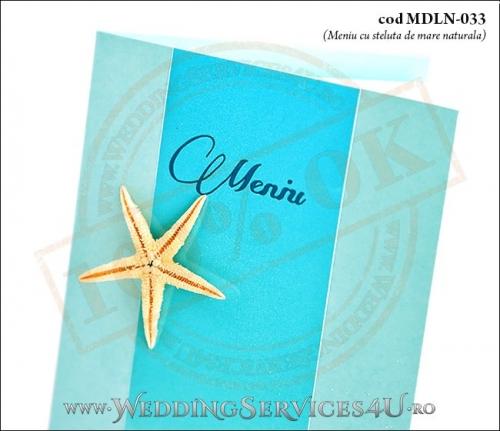 MDLN-033-02 meniu nunta botez turcoaz cu tematica marina si stea de mare naturala
