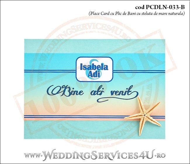 PCDLN-033-B place card cu plic de bani nunta botez turcoaz cu tematica marina si stea de mare naturala