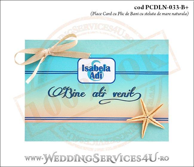 PCDLN-033-B+ place card cu plic de bani nunta botez turcoaz cu tematica marina si steluta de mare naturala