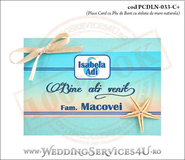 PCDLN-033-C+-01 place card cu plic de bani nunta botez turcoaz cu tematica marina si steluta de mare naturala