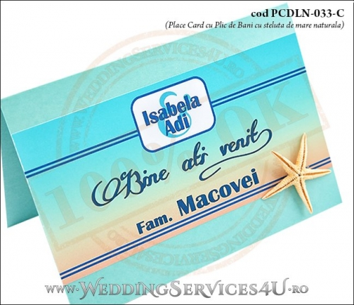PCDLN-033-C-02 place card cu plic de bani nunta botez turcoaz cu tematica marina si steluta de mare naturala